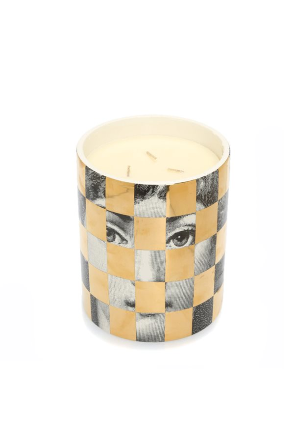 Face Themed Checkered Candle