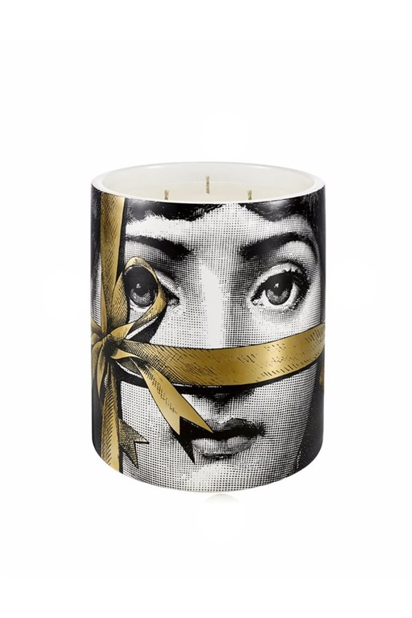 Gold Ribbon Face Candle