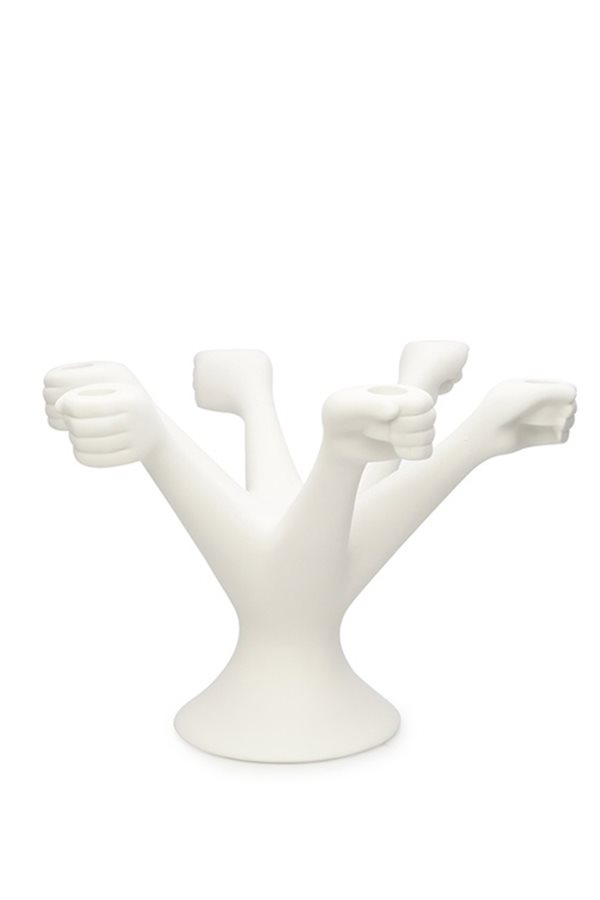 6 White Hand Candlestick