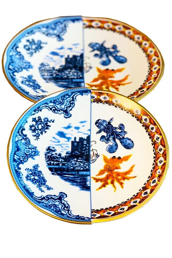 Two Patterned 6-Piece Serving Platter