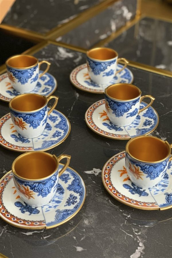 Two Patterned 6-Piece Coffee Cup