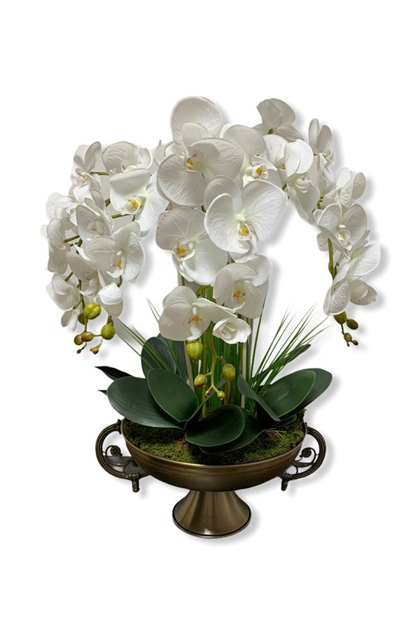 Artificial Wet Orchid Handled Goblet Flower Pot Arrangement - Bronze