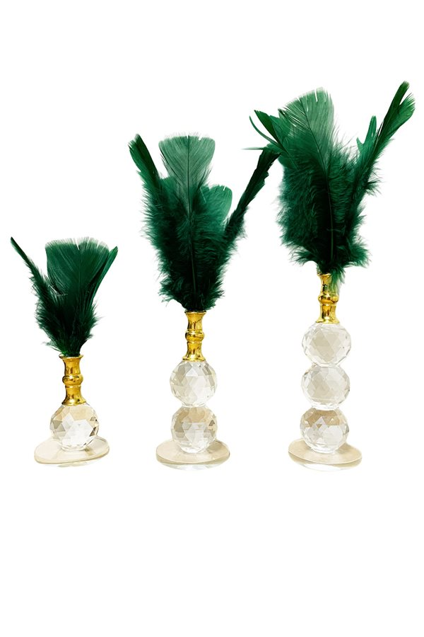 Triple Green Feather Crystal Decor