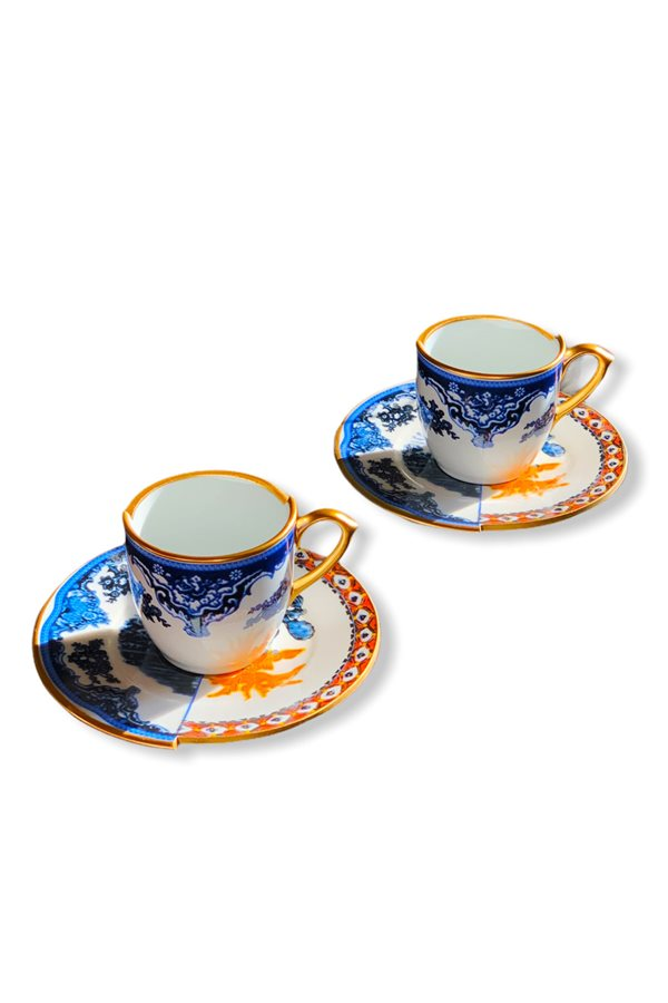 Two Patterned 2-White Coffee Cups