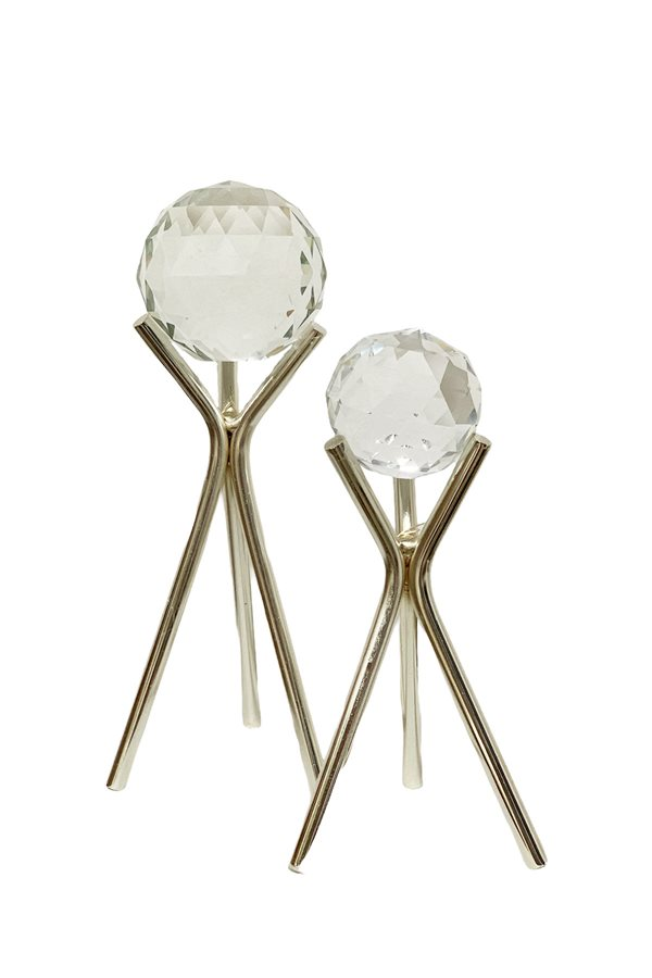 Double Crystal Balls Deco Silver