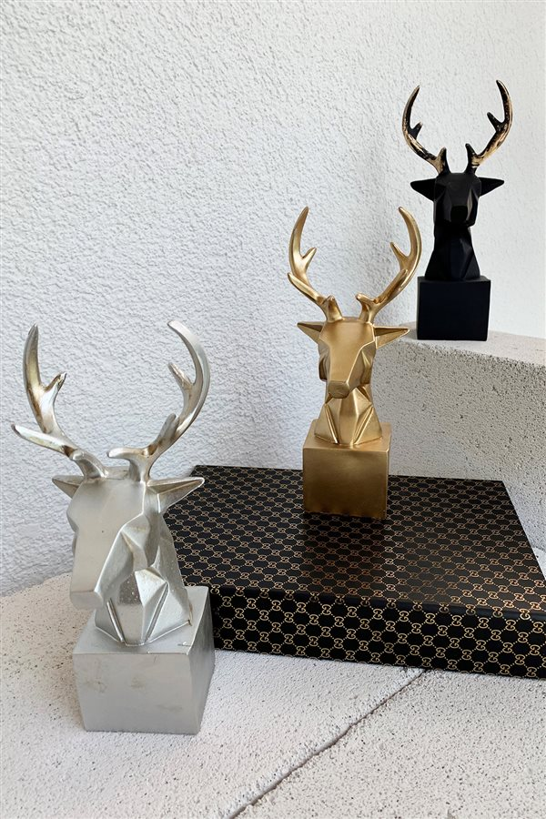 Cubic Black Deer Bust Trinket