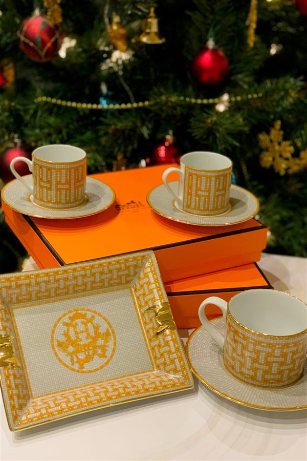 Mosaic Pattern Orange 2-Piece Tea Cup Set