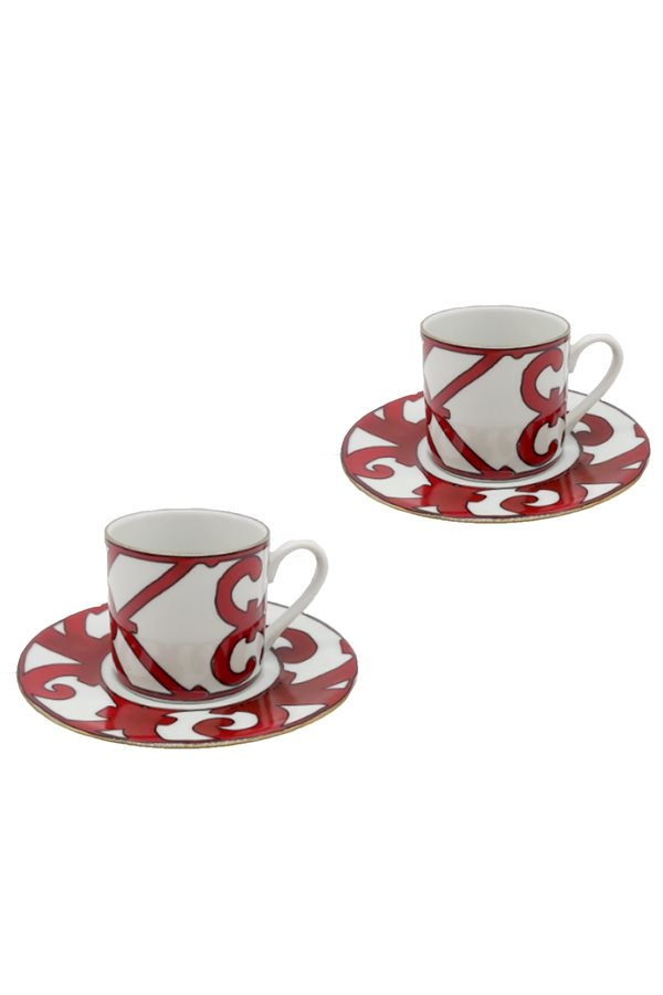 Balcon Pattern Red 2-Piece Cup Set