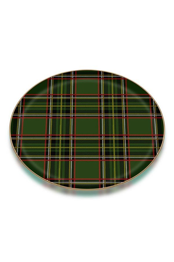 Plaid Pattern 6-Piece Green Cake Plate