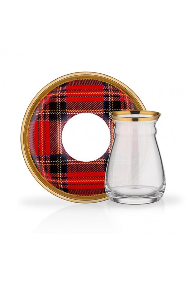 Plaid Pattern Red Tea Set
