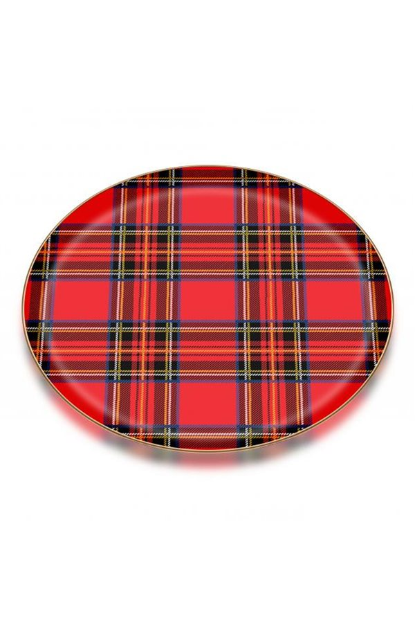 Plaid Pattern 6-Piece Red Cake Plate