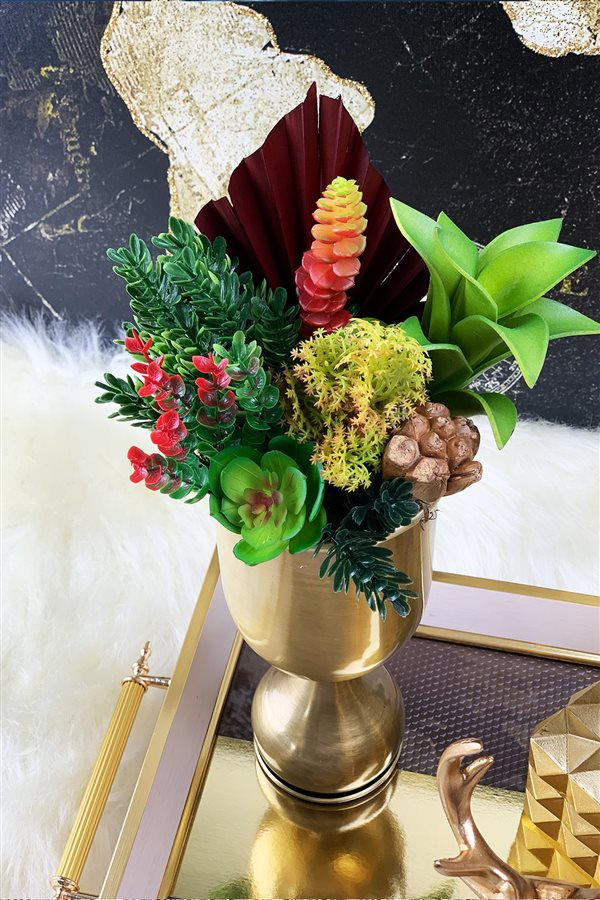 Artificial Flower Cup Arrangement - Large Bronze Vase