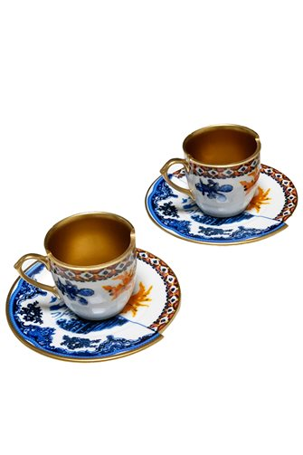 Two Patterned 2-Coffee Cups