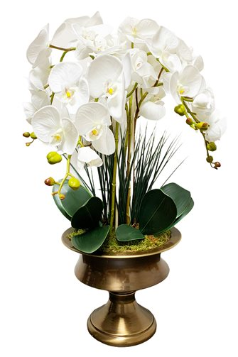 Artificial Wet Orchid Glass Flower Pot Arrangement - Bronze