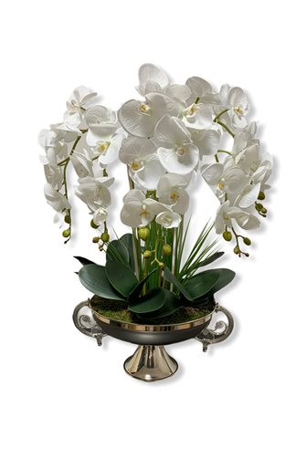 Artificial Wet Orchid Handled Goblet Flower Pot Arrangement - Silver