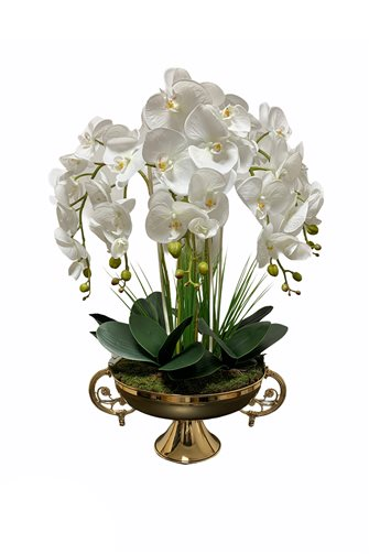 Artificial Wet Orchid Handled Goblet Flower Pot Arrangement - Gold