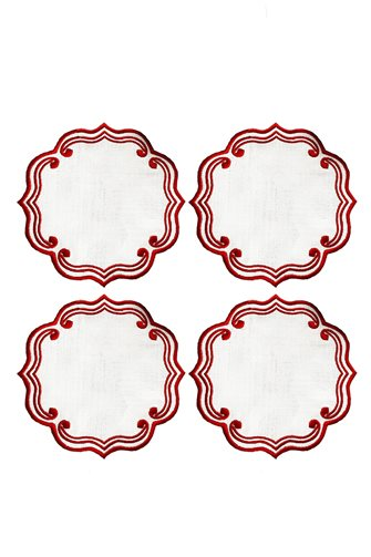 Pure Red Cocktail Napkin 4 Pieces
