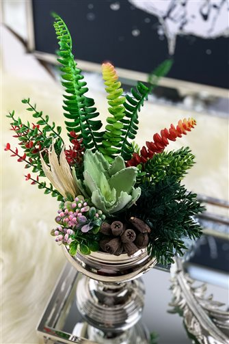 Artificial Flower Large Cup Arrangement - Small Silver Vase