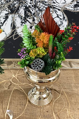 Artificial Flower Large Cup Arrangement - Large Silver Vase