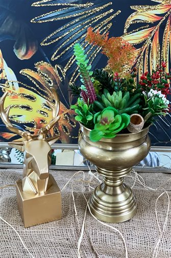 Artificial Flower Large Cup Arrangement - Small Bronze Vase