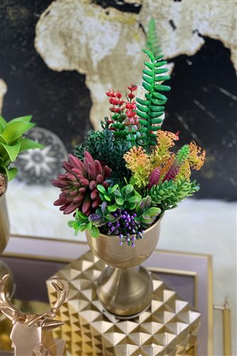 Artificial Flower Cup Arrangement - Small Bronze Vase